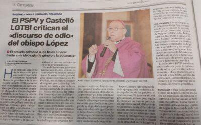 El PSPV y Castelló LGTBI critican el «discurso de odio» del obispo López (El periódico Mediterráneo)